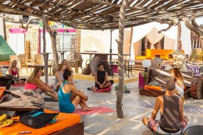 Morning yoga in a gorgeous Ibiza setting
